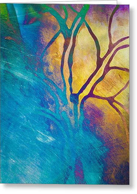 Fire And Ice Abstract Tree Art  Greeting Card by Priya Ghose