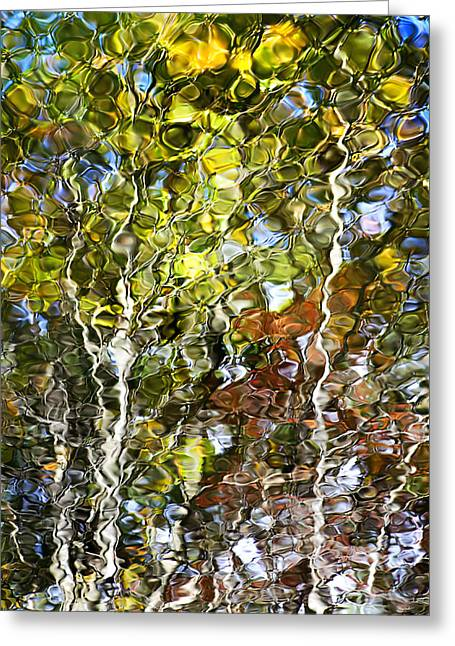 Mosiac Greeting Cards - Abstract Tree Reflection Greeting Card by Christina Rollo
