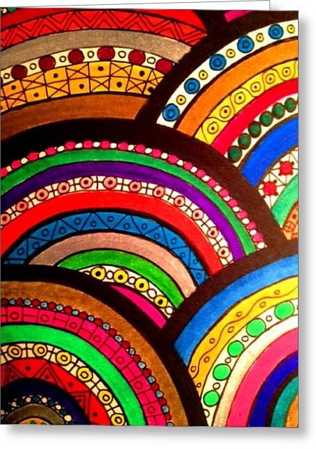 Repetition Drawings Greeting Cards - Abstract Two Greeting Card by Annastaysia Savage