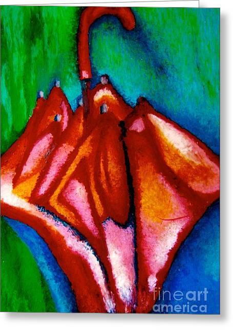 Umbrellas Pastels Greeting Cards - Abstract Umbrella Greeting Card by Jon Kittleson