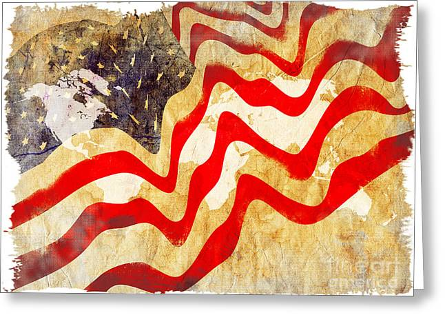 July Fourth Greeting Cards - Abstract USA Flag Greeting Card by Stefano Senise
