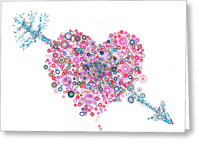 Pointillist Drawings Greeting Cards - Abstract Valentine Greeting Card by Regina Valluzzi