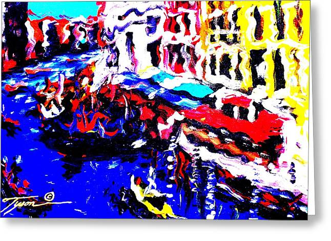 Blackart Greeting Cards - Abstract VENICE Greeting Card by Jonathan Tyson