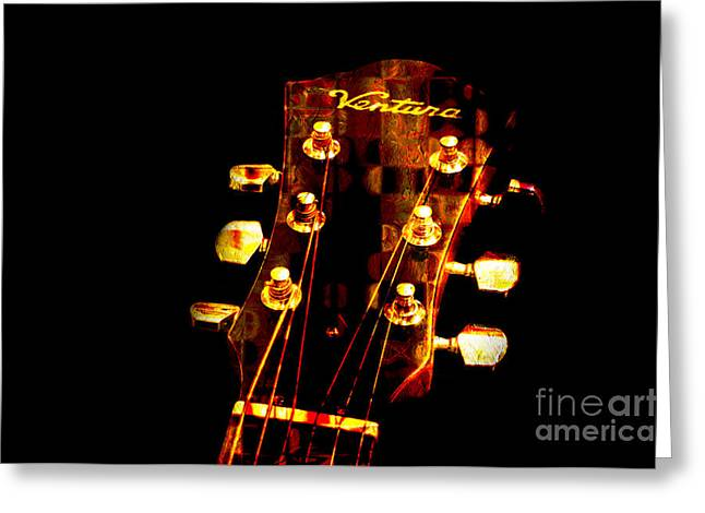 Noise . Sounds Mixed Media Greeting Cards - Abstract - Ventura Highway - Guitar - Musician Greeting Card by Andee Design