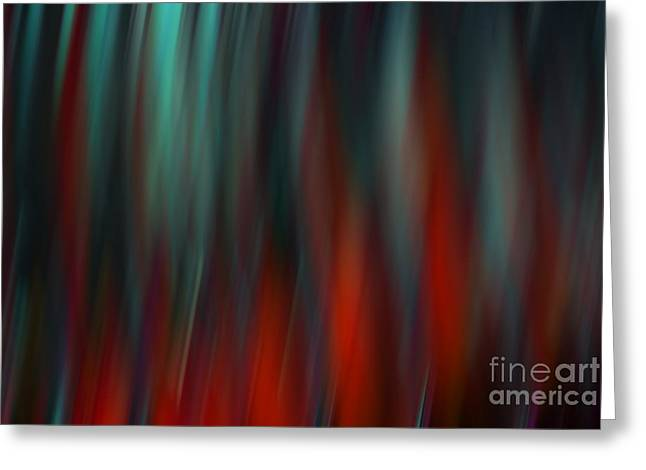 Blur Greeting Cards - Abstract Vertical Red Green Blur Greeting Card by Marvin Spates