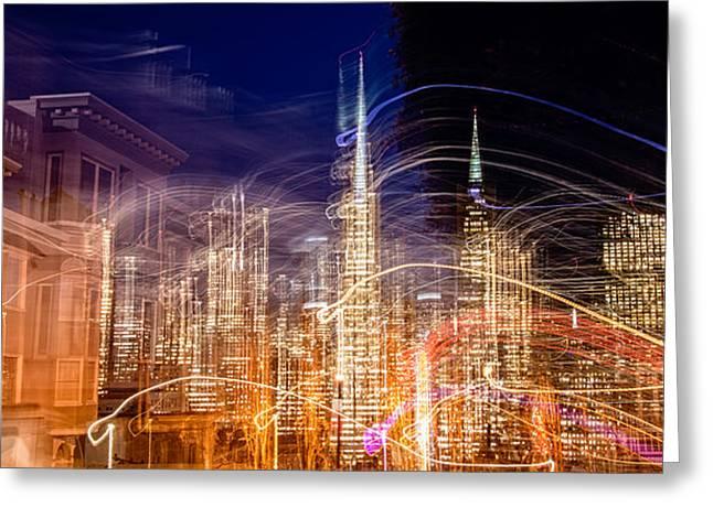 Financial District San Francisco Greeting Cards - Abstract View Of San Franciscos Greeting Card by Panoramic Images