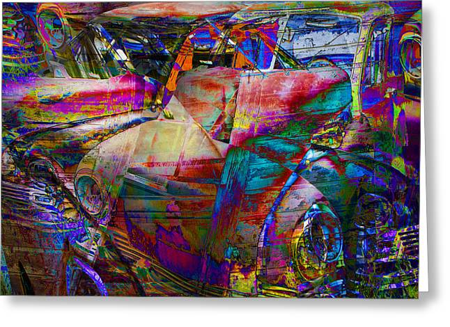 Abstract Digital Art Digital Art Greeting Cards - Abstract Vintage Autos Greeting Card by Randall Nyhof