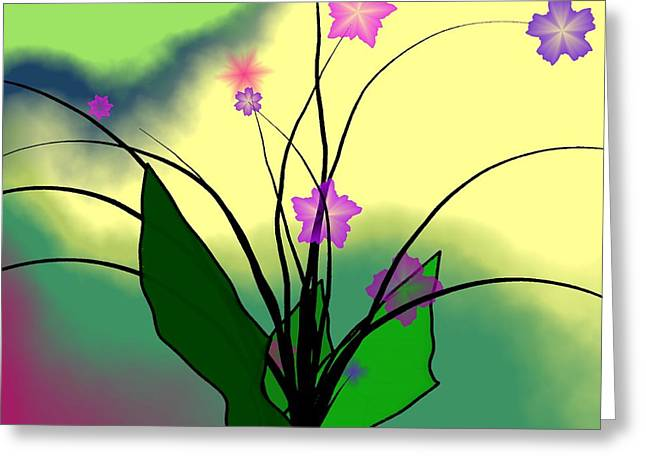Abstract Flowers Greeting Cards - Abstract Violets Greeting Card by GuoJun Pan