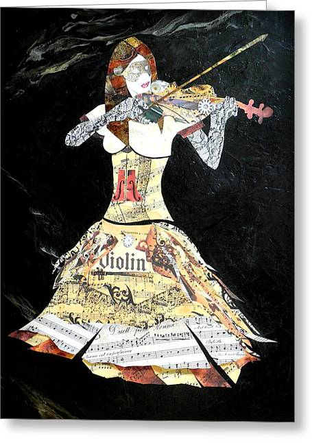 Mahogany Mixed Media Greeting Cards - Abstract Violin Painting Violinist Art Steampunk in Design DOLCE CONCERTO  Greeting Card by Holly Anderson