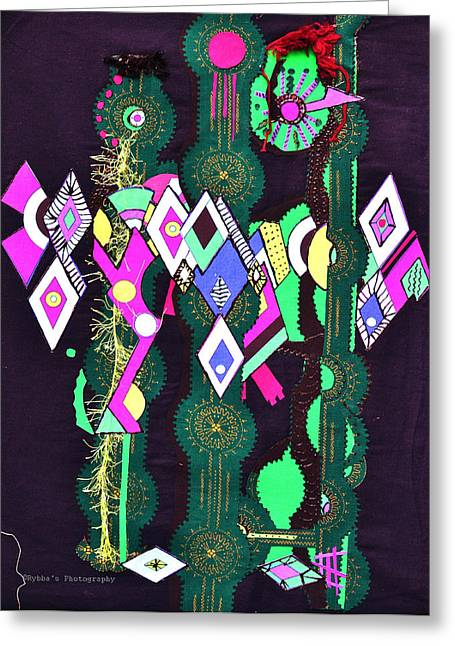 Dress Tapestries - Textiles Greeting Cards - Abstract Warriors Greeting Card by Ruth Yvonne Ash