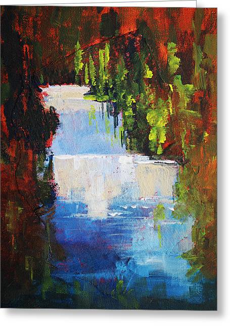 Fishing Creek Greeting Cards - Abstract Waterfall Painting Greeting Card by Nancy Merkle