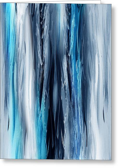 Waterfall Greeting Cards - Abstract Waterfall Turquoise Flow Greeting Card by Irina Sztukowski