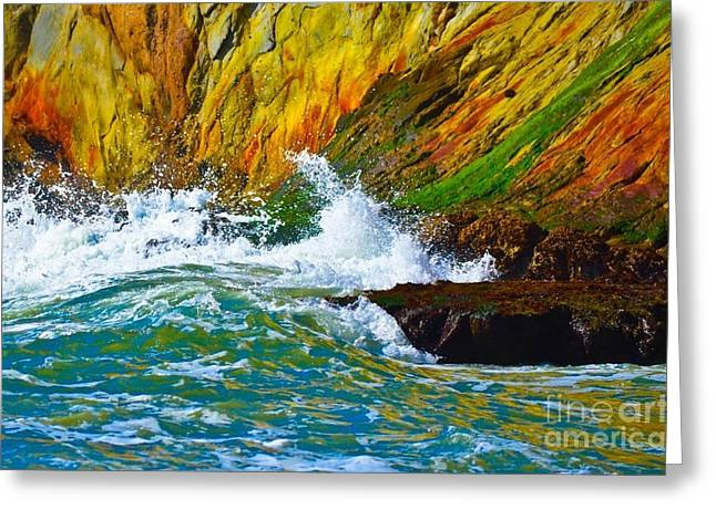 California Beach Greeting Cards - Abstract Waves Greeting Card by Gwen McFadden