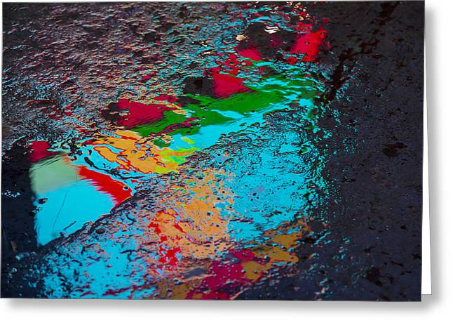 Pavement Greeting Cards - Abstract wet pavement Greeting Card by Garry Gay