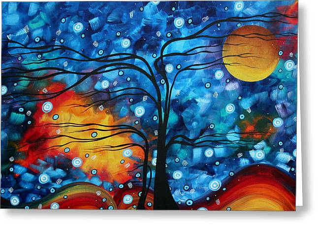 Abstract Whimsical Original Landscape Painting Childhood Memories By Madart Greeting Card by Megan Duncanson