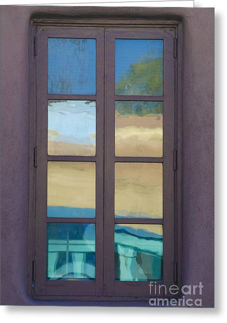 Glass Reflecting Greeting Cards - Abstract Window Reflections Greeting Card by David Gordon