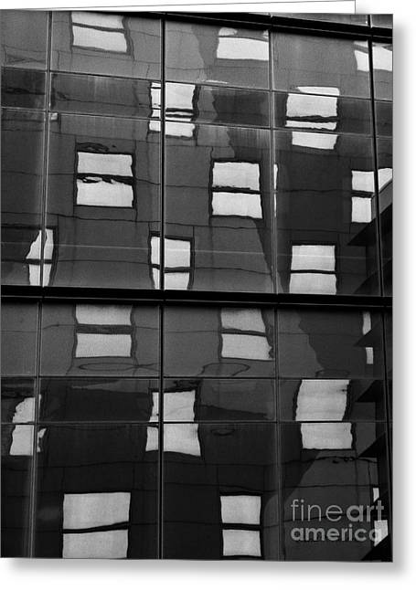 Fragmentation Greeting Cards - Abstract Window Reflections - NYC BW Greeting Card by Dave Gordon