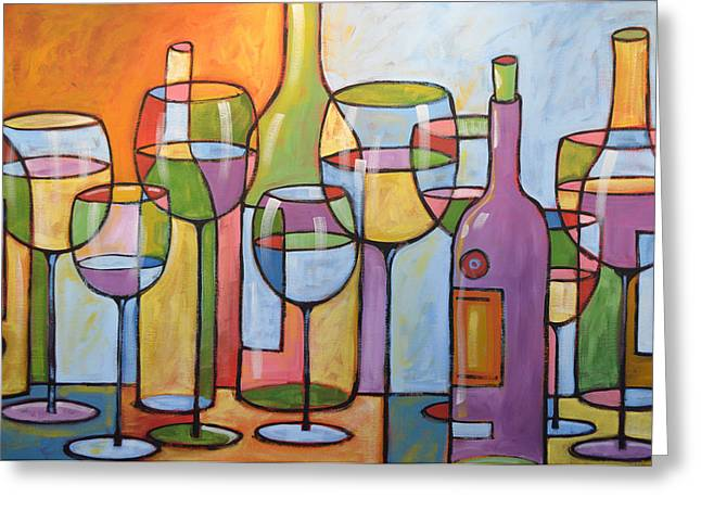 Wine Prints Greeting Cards - Abstract Wine Dining Room Bar Kitchen Art ... Time To Relax Greeting Card by Amy Giacomelli