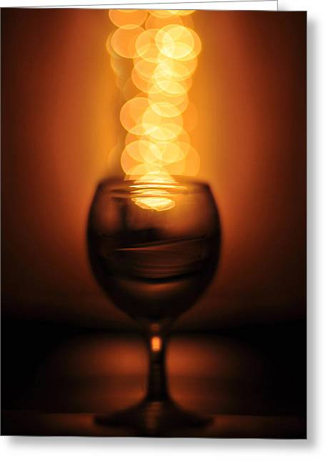 Wine Reflection Art Greeting Cards - Abstract wine glass Greeting Card by Abdul  Rahman