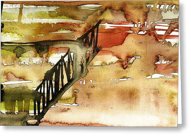 Merging Paintings Greeting Cards - Abstract with a wooden staircase Greeting Card by Makarand Joshi