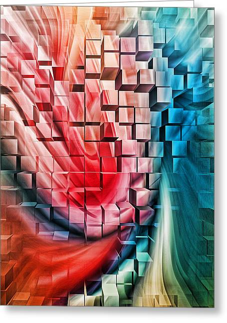 Stream Digital Greeting Cards - Abstract with Blocks Greeting Card by Linda Phelps