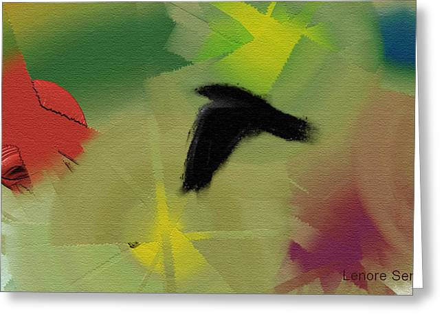 Beige Abstract Greeting Cards - Abstract with Crow Greeting Card by Lenore Senior