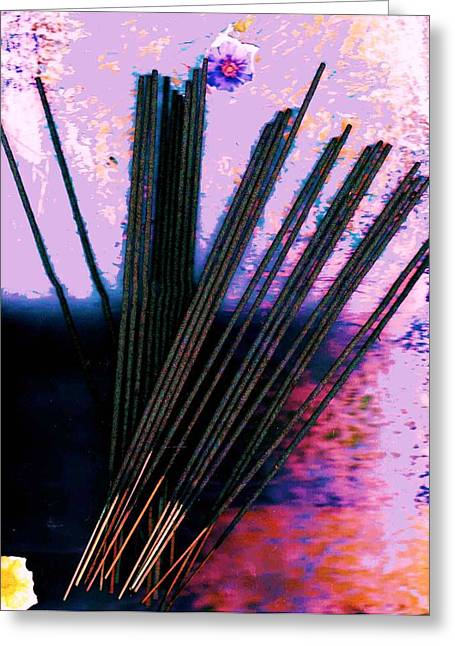 Abstract With Sticks Greeting Card by Anne-Elizabeth Whiteway