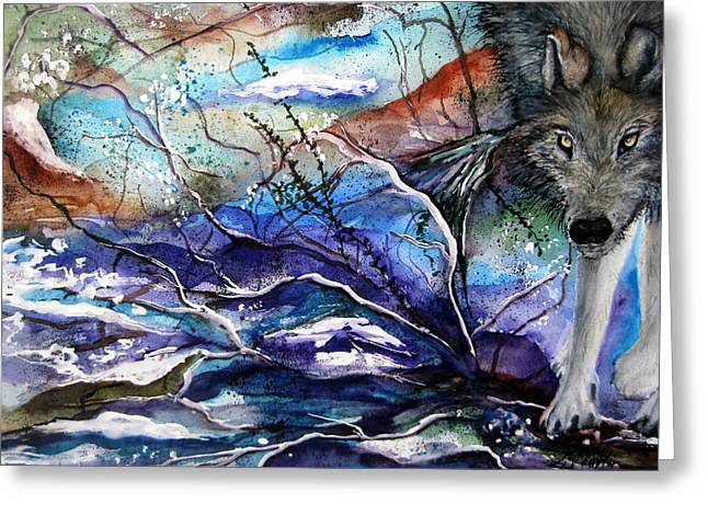 Abstract Wolf Greeting Card by Lil Taylor