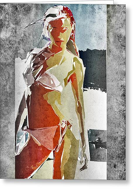 Bikini Greeting Cards - Abstract Woman Greeting Card by David Ridley