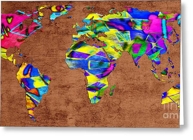 One Continent Mixed Media Greeting Cards - Abstract World Map - A Wide World Of Color - One Greeting Card by Andee Design