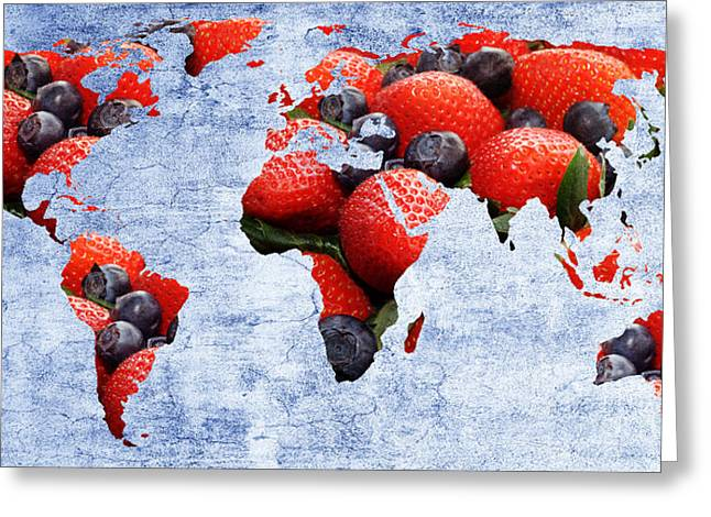 Geography Mixed Media Greeting Cards - Abstract World Map - Berries And Cream - Blue Greeting Card by Andee Design