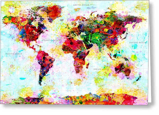 Abstract World Map Greeting Card by Gary Grayson