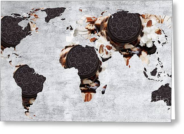 Country Schools Mixed Media Greeting Cards - Abstract World Map - Oreo Cookies - Teacher - School Greeting Card by Andee Design