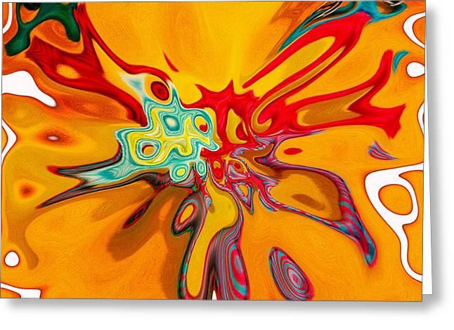 Gaia Mixed Media Greeting Cards - Abstract Yellow 80 Greeting Card by Gaia Ragu