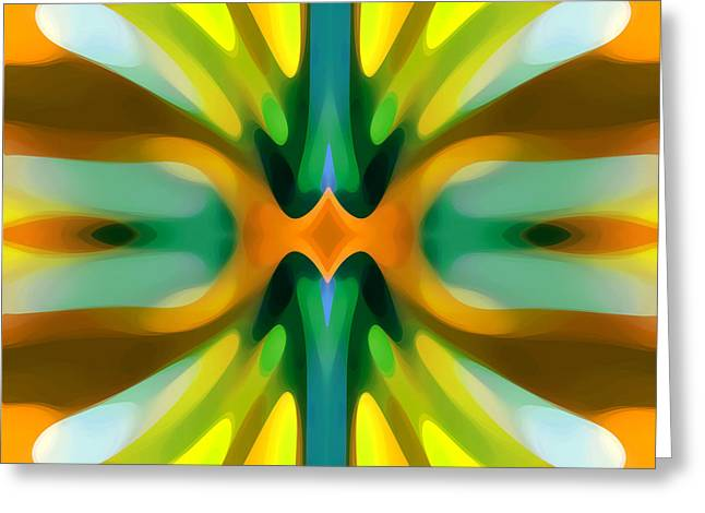 Abstract Movement Greeting Cards - Abstract YellowTree Symmetry Greeting Card by Amy Vangsgard