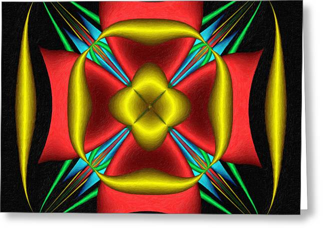 Occasion Greeting Cards - Abstracta Red Gold Blue Green A Greeting Card by Dr Roy Schneemann