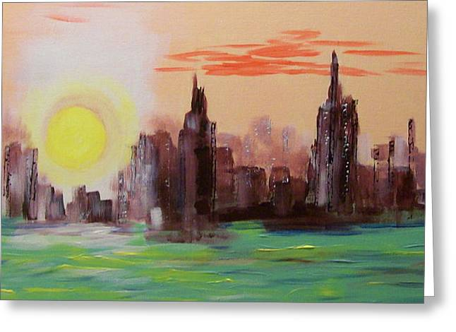 Abstracted Ny Skyline Greeting Card by Rich Mason