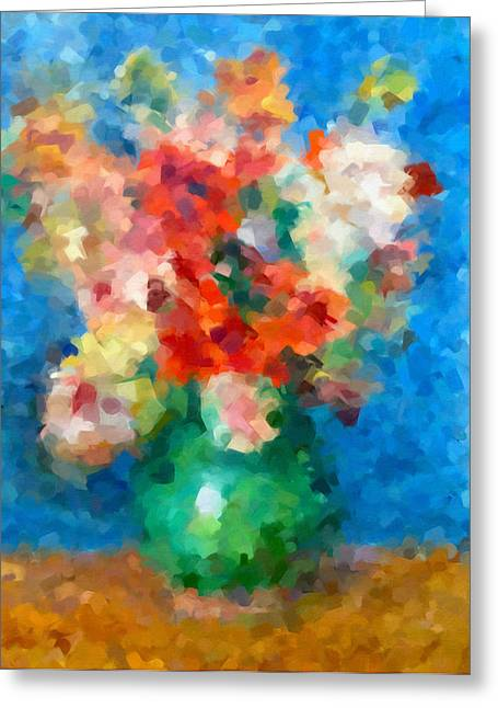 Floral Still Life Mixed Media Greeting Cards - Abstracting Renoir Greeting Card by Georgiana Romanovna