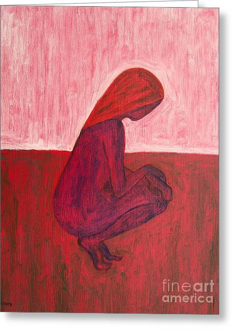 Modern Mobile Greeting Cards - Red Nude Greeting Card by Patrick J Murphy