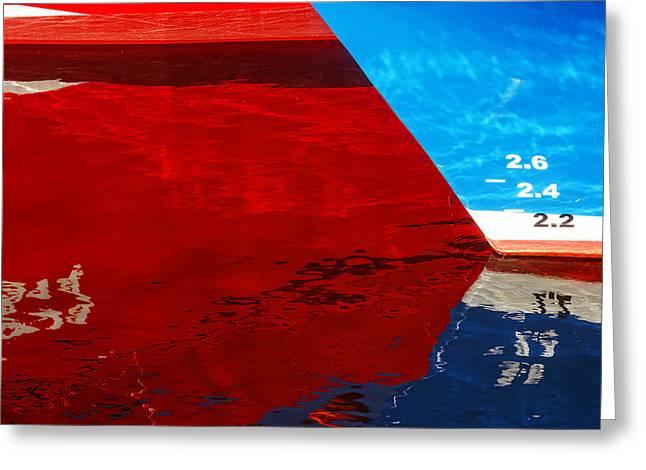 Ship Reflection Greeting Cards - Abstraction With Ship Reflections On Water Greeting Card by Mikel Martinez de Osaba