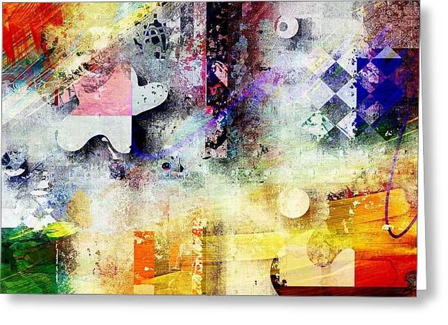 Red Abstract Digital Art Greeting Cards - Abstracture - 052061049at1-sp1tb2 Greeting Card by Variance Collections