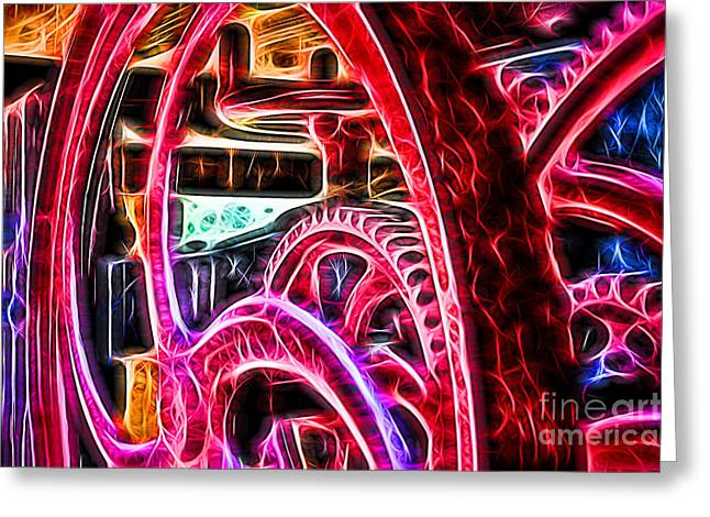 Mechanism Photographs Greeting Cards - Abstract Wine Press Gears Greeting Card by Dawn Gari