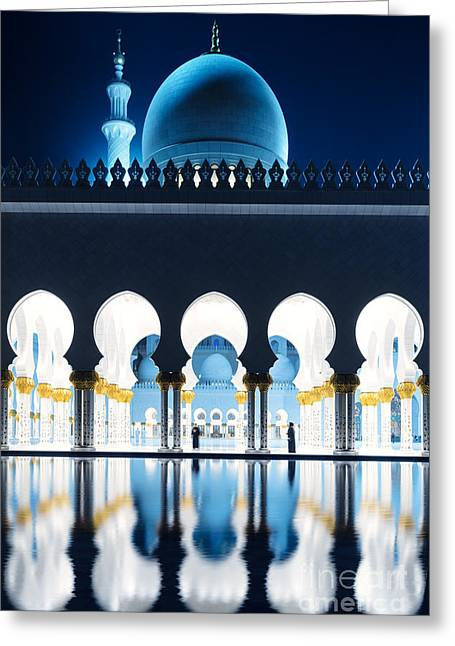 Persian Women Greeting Cards - Abu Dhabi - Sheikh Zayed Grand Mosque at night Greeting Card by Matteo Colombo