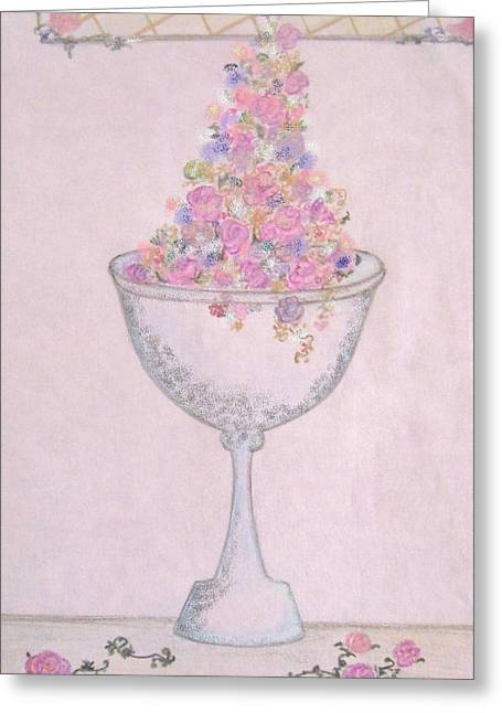 Vase Of Flowers Pastels Greeting Cards - Abundance Greeting Card by Christine Corretti