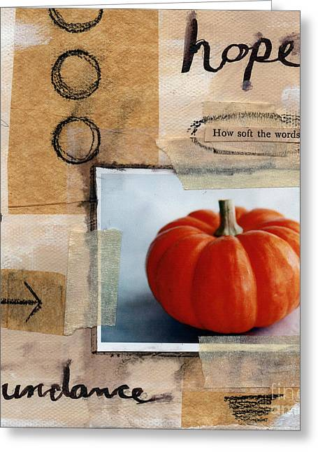 Orange Pumpkin Greeting Cards - Abundance Greeting Card by Linda Woods