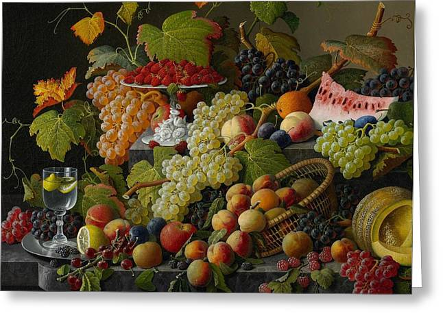 Watermelon Greeting Cards - Abundant Fruit Greeting Card by Severin Roesen
