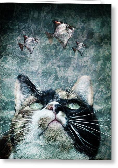 Abyss Greeting Cards - Abyss cat nr 2 Greeting Card by Laura Melis