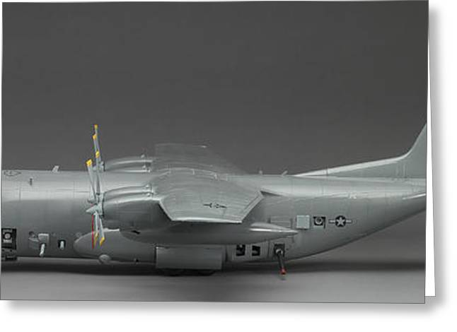 Ac-130 Greeting Cards - AC 130 Gunship side view Greeting Card by Robert Mollett
