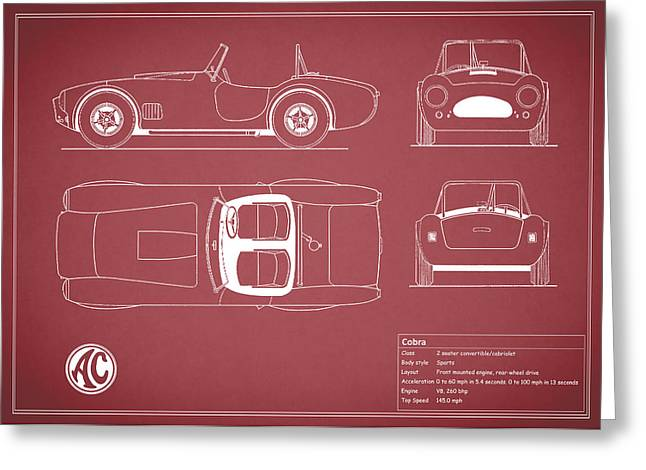 Ac Greeting Cards - AC Cobra Blueprint - Red Greeting Card by Mark Rogan