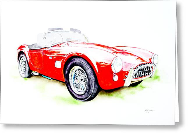 Championship Drawings Greeting Cards - AC Cobra Greeting Card by Isabel Salvador
